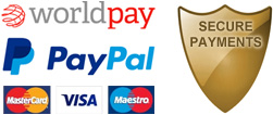 Secure payments with PayPal & WorldPay using VISA, Mastercard and Maestro